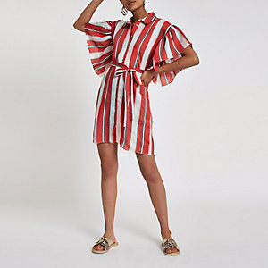 Pink stripe cold shoulder frill shirt dress
