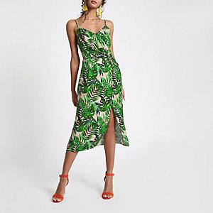 Robe mi-longue imprimé feuilles verte à bretelles fines