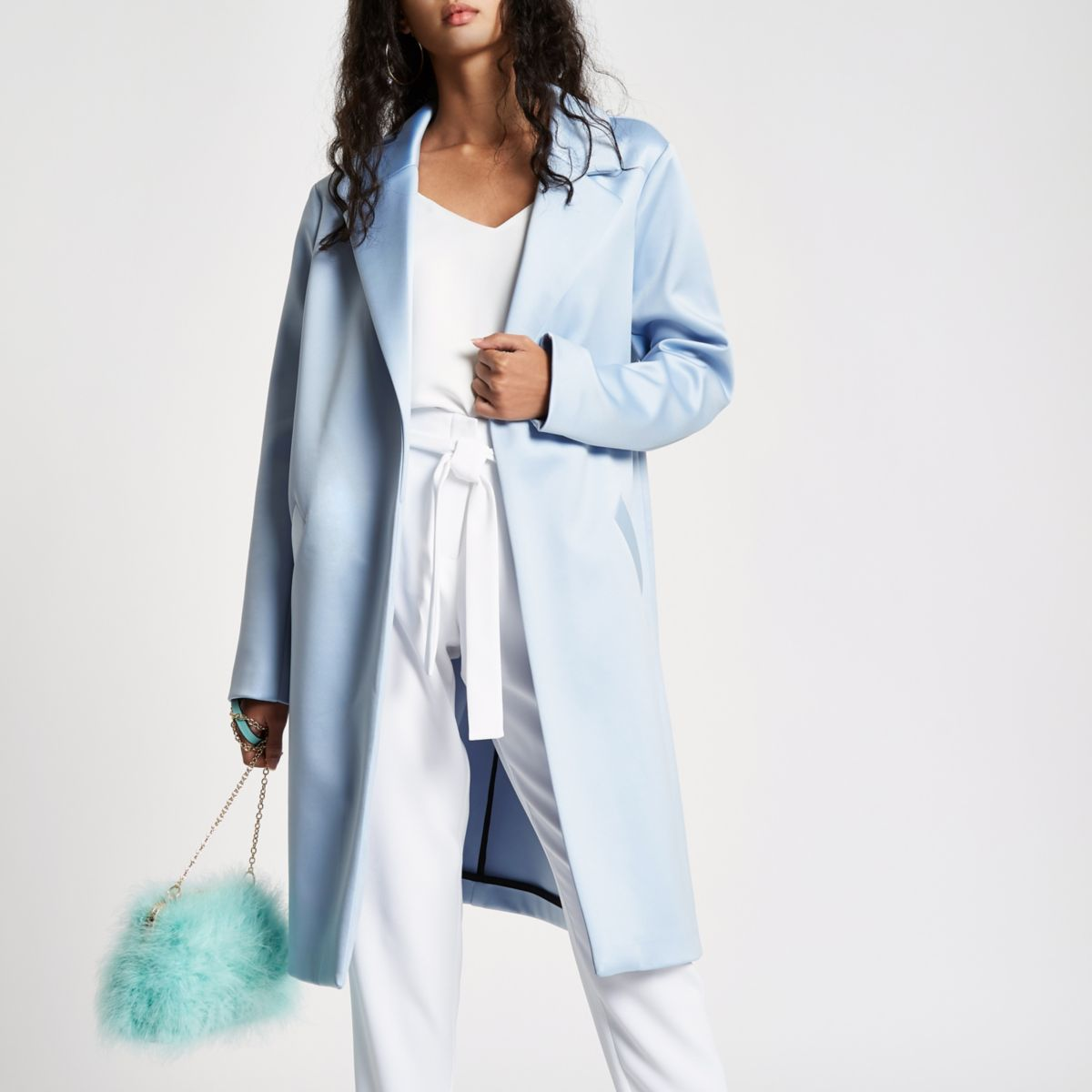 Light blue satin tailored coat