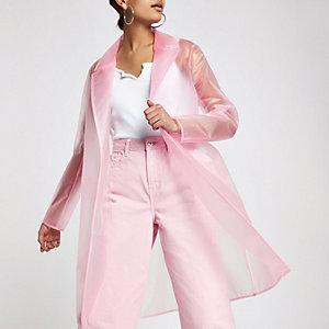 Pink plastic duster rain coat
