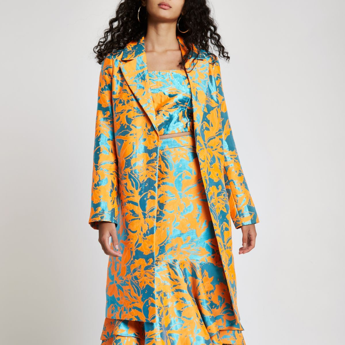 Orange jacquard open front coat