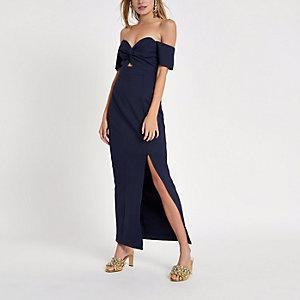Robe longue Bardot bleu marine nouée sur le devant