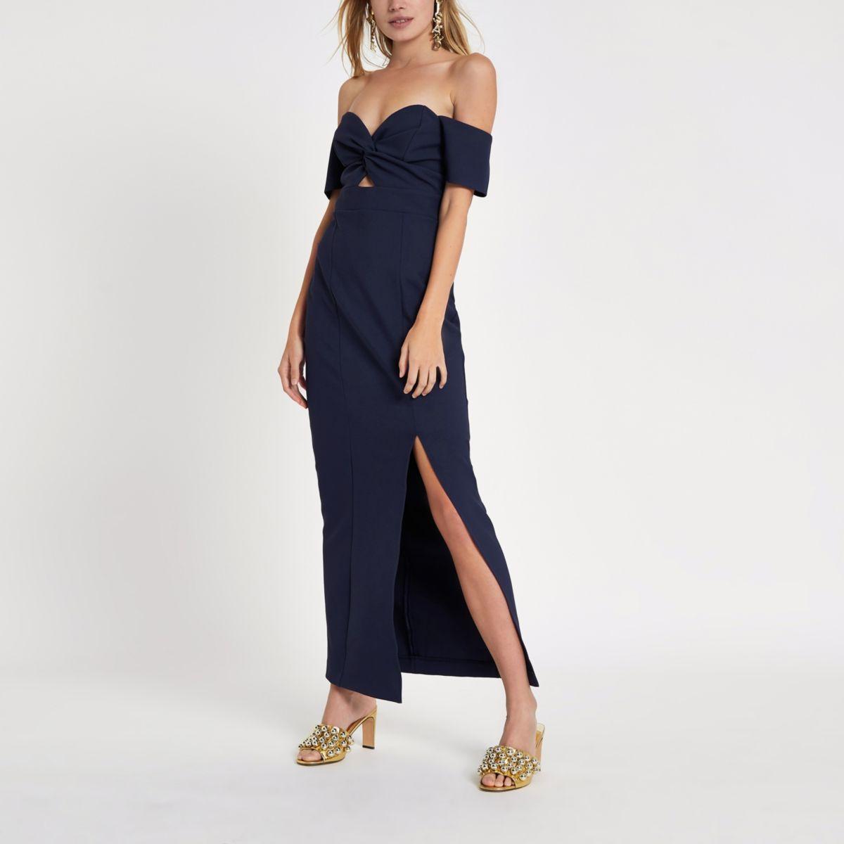 Navy knot front bardot maxi dress