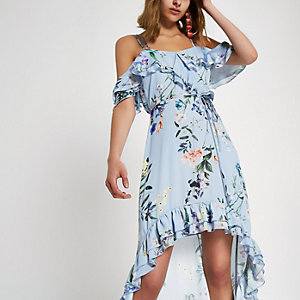 Blue floral frill high low maxi dress