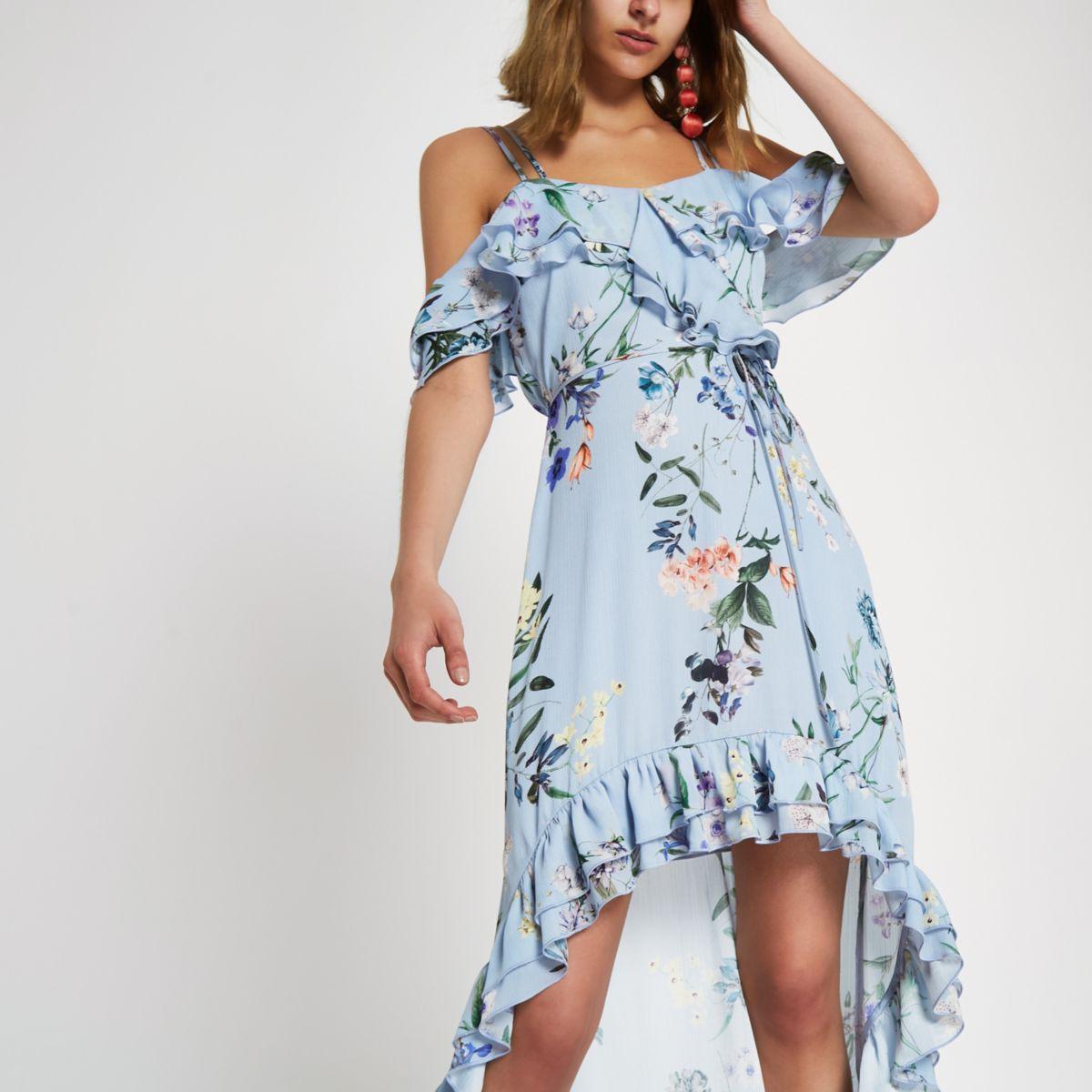 Blue floral frill high low maxi dress