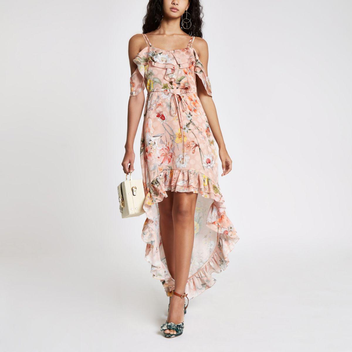 Light pink floral frill high low maxi dress