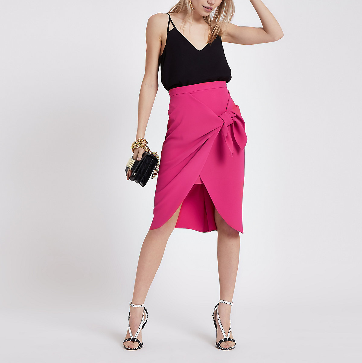 Petite pink tie front pencil skirt