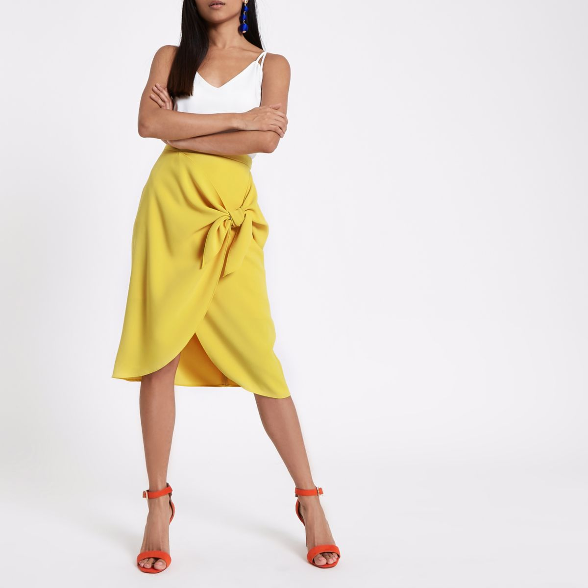 Petite yellow tie front pencil skirt