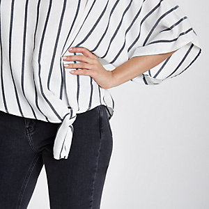 Grey stripe knot side shirt