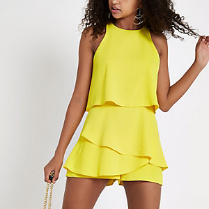 Yellow tiered frill romper