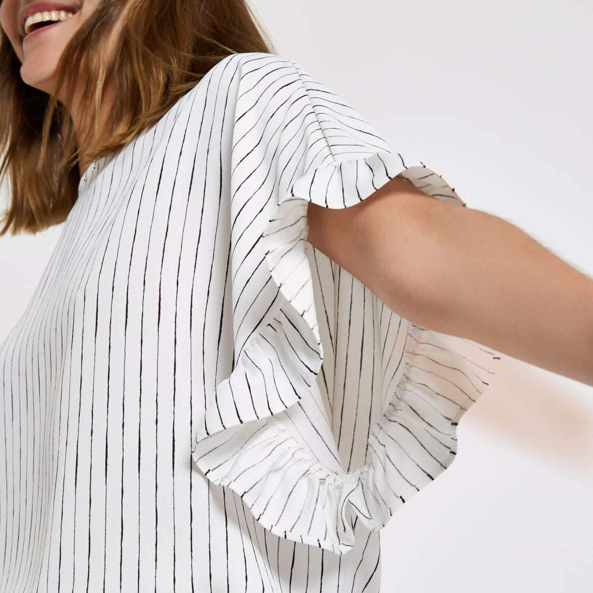 White stripe frill sleeve top