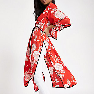 Red floral jacquard tie front kimono