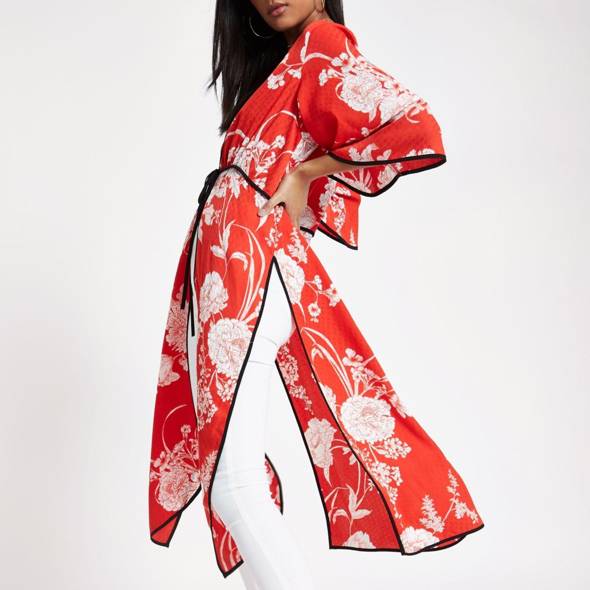 Red floral jacquard tie front kimono