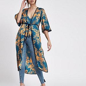 Kimono bleu à fleurs noué à l'avant