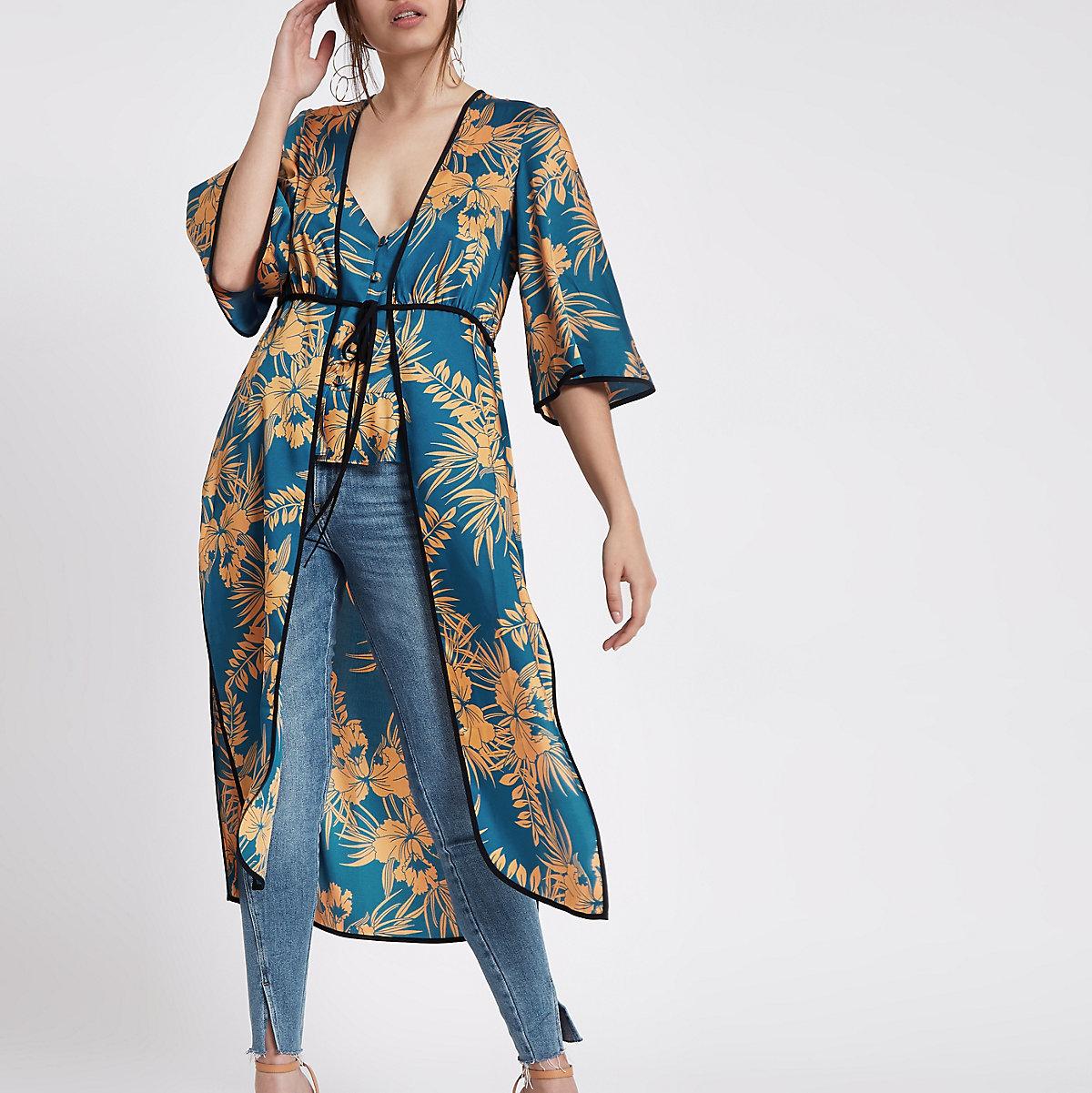 Blauwe kimono met bloemenprint en strik voor