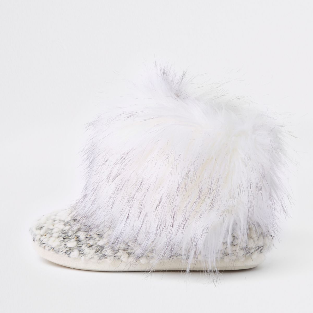 Cream knit faux fur trim boot slippers