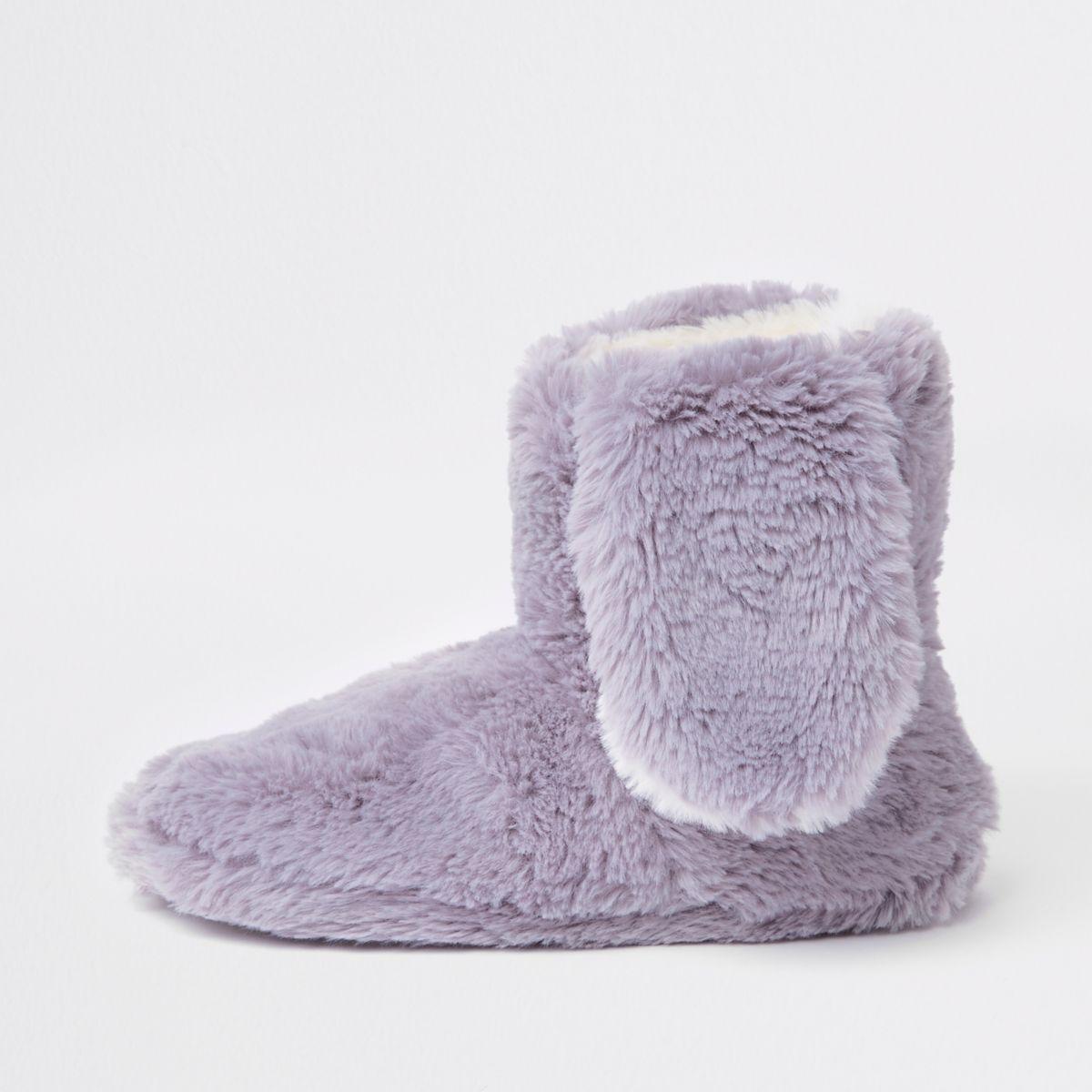 Grey faux fur bunny ear boot slippers