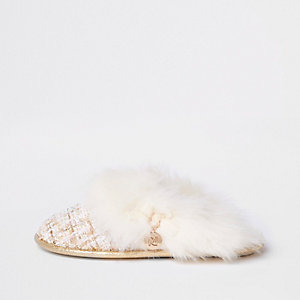 Cream boucle faux fur trim slider slippers