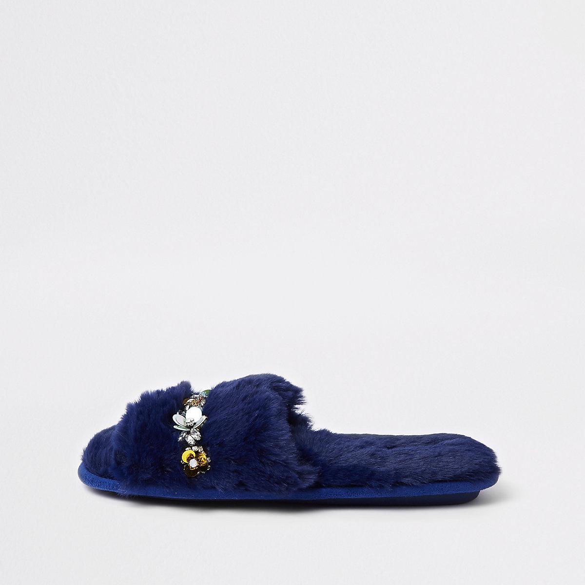 Navy faux fur embellished mules