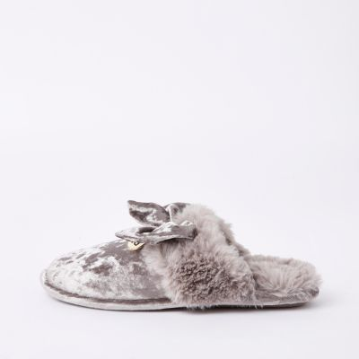Grey Velvet Bow Mule Slippers by River Island
