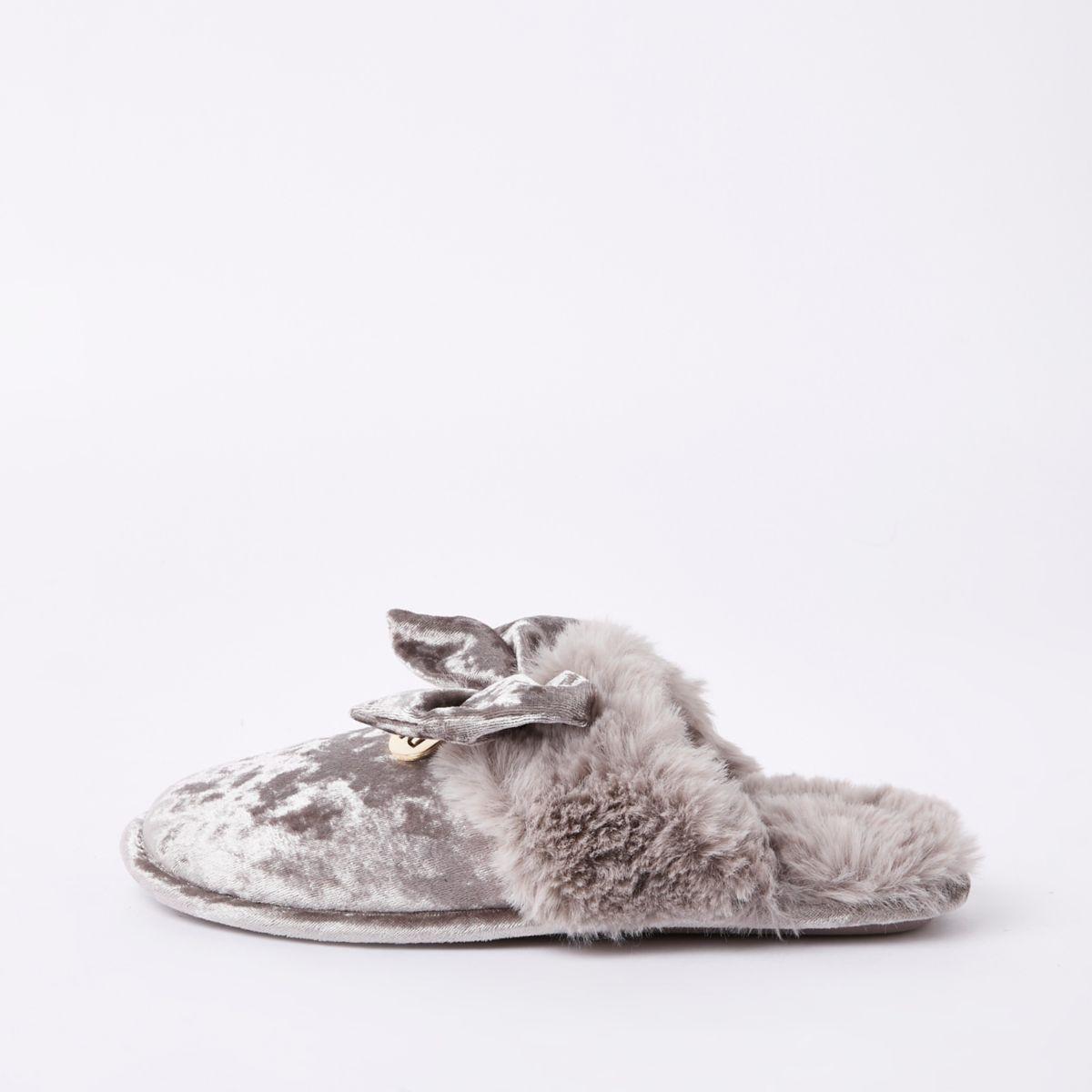 Grey velvet bow mule slippers