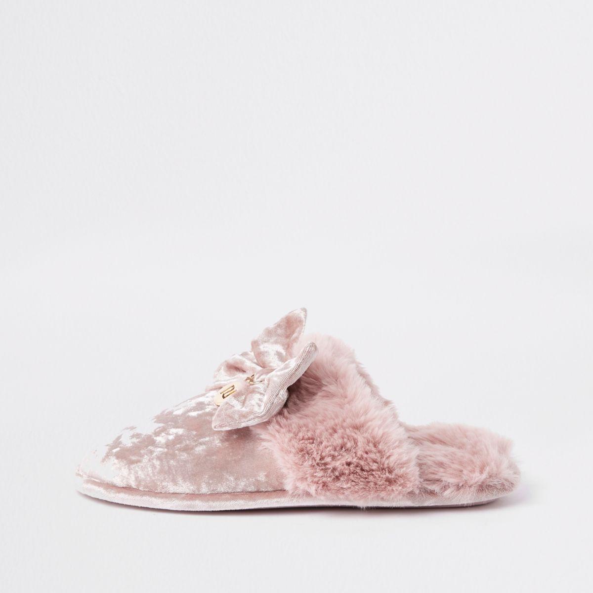 Pink velvet bow mule slippers