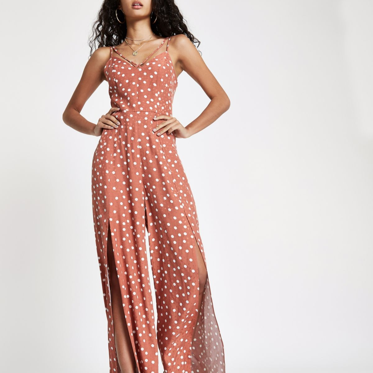 Brown spot wide split leg jumpsuit