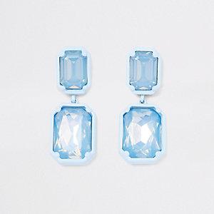 Boucles d'oreilles clips à pierres bleues pendantes