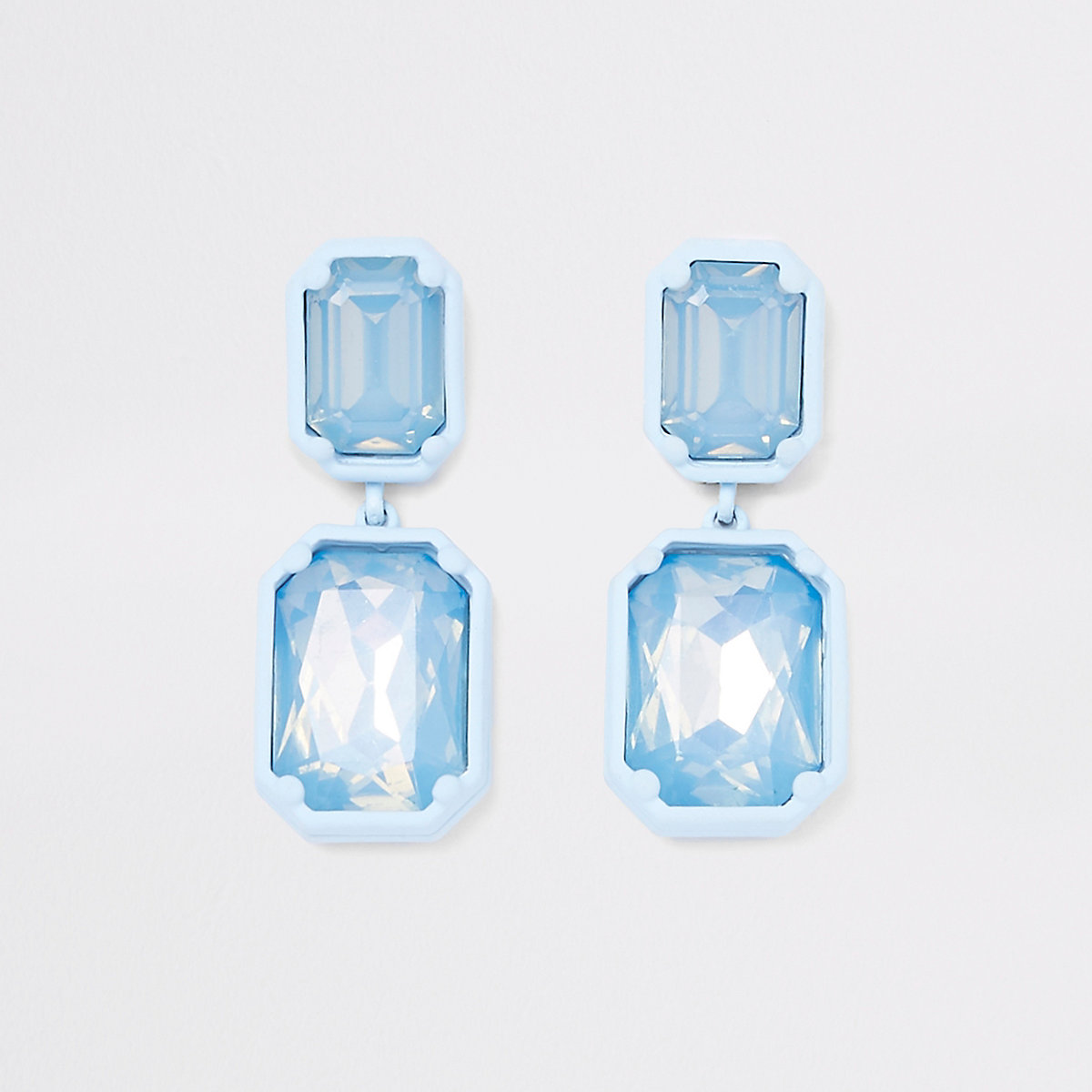 Blue jewel drop clip on earrings
