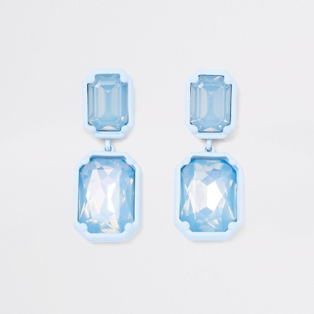Blue jewel drop clip on earrings