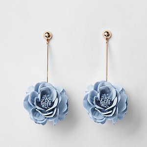 Pendants d'oreille motif fleur 3D bleu
