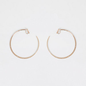 Gold tone clip on hoop earrings