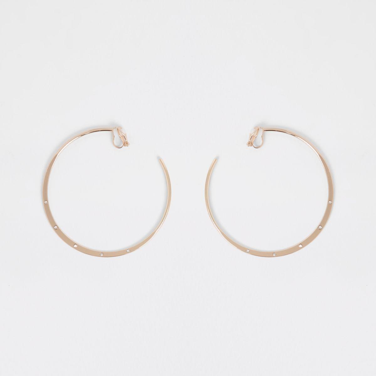 Gold tone clip on hoop earrings