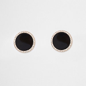 Black large round rhinestone stud earrings