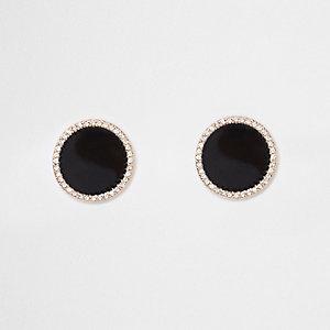 Zwarte oorknopjes met grote ronde diamantjes