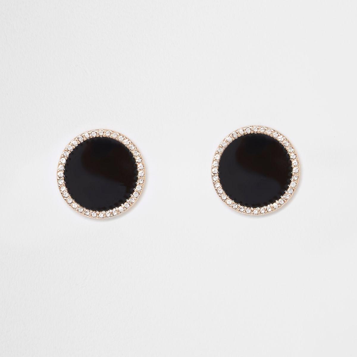 Black large round rhinestone stud earrings