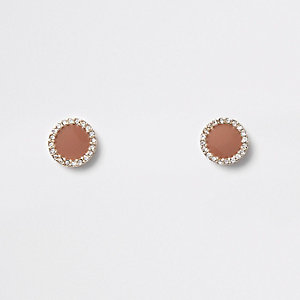 Brown mini round rhinestone stud earrings