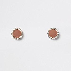 Bruine oorknopjes met ronde diamantjes