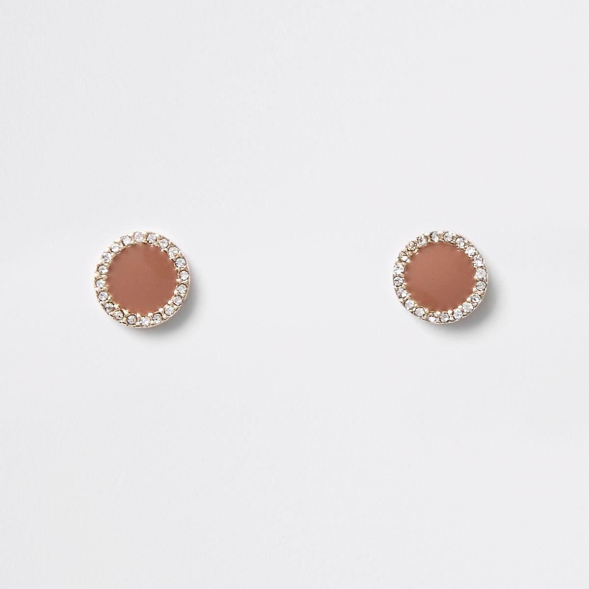 Brown mini round diamante stud earrings