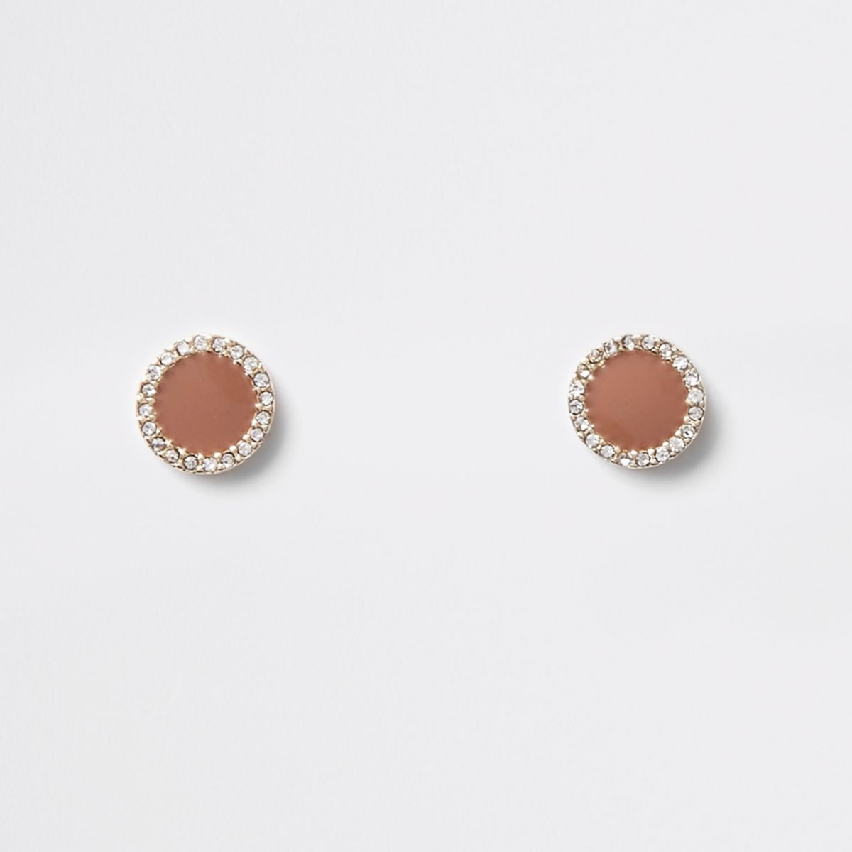 Brown mini round rhinestone stud earrings