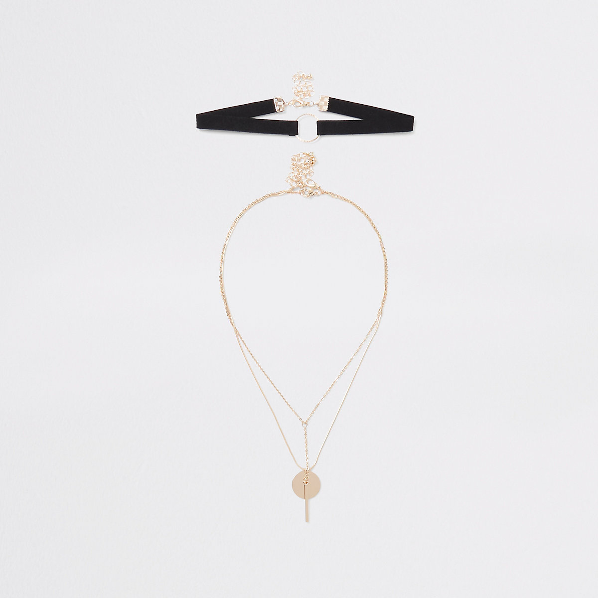 Black gold tone facetted choker multipack