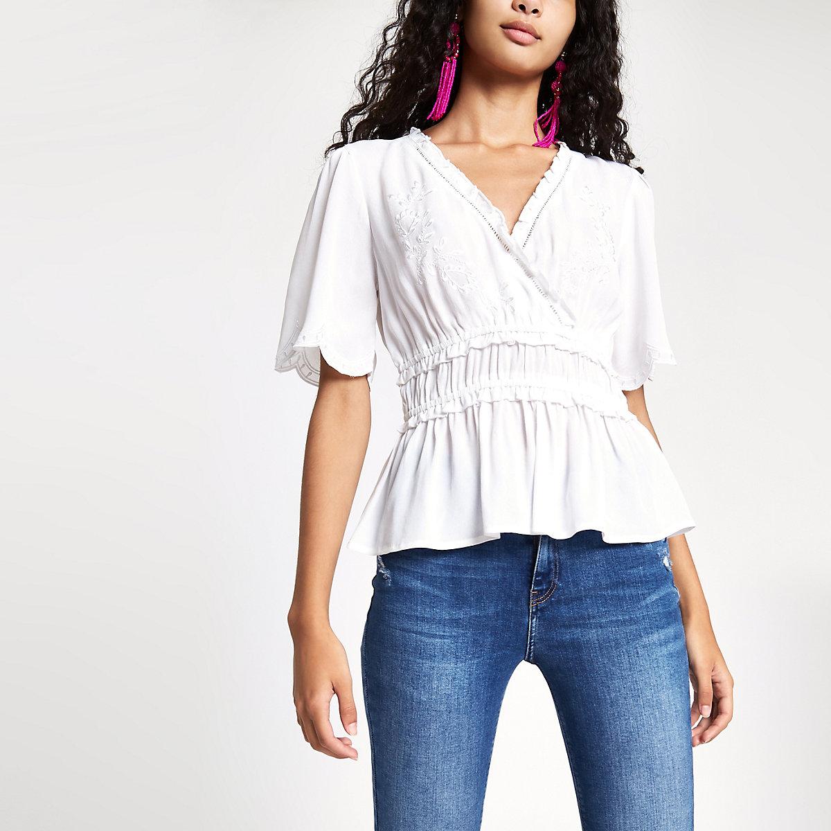 Cream embroidered shirred waist top