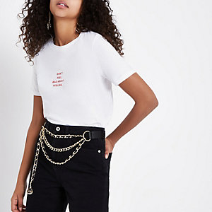 """Weißes T-Shirt mit """"Feeling""""-Print"""
