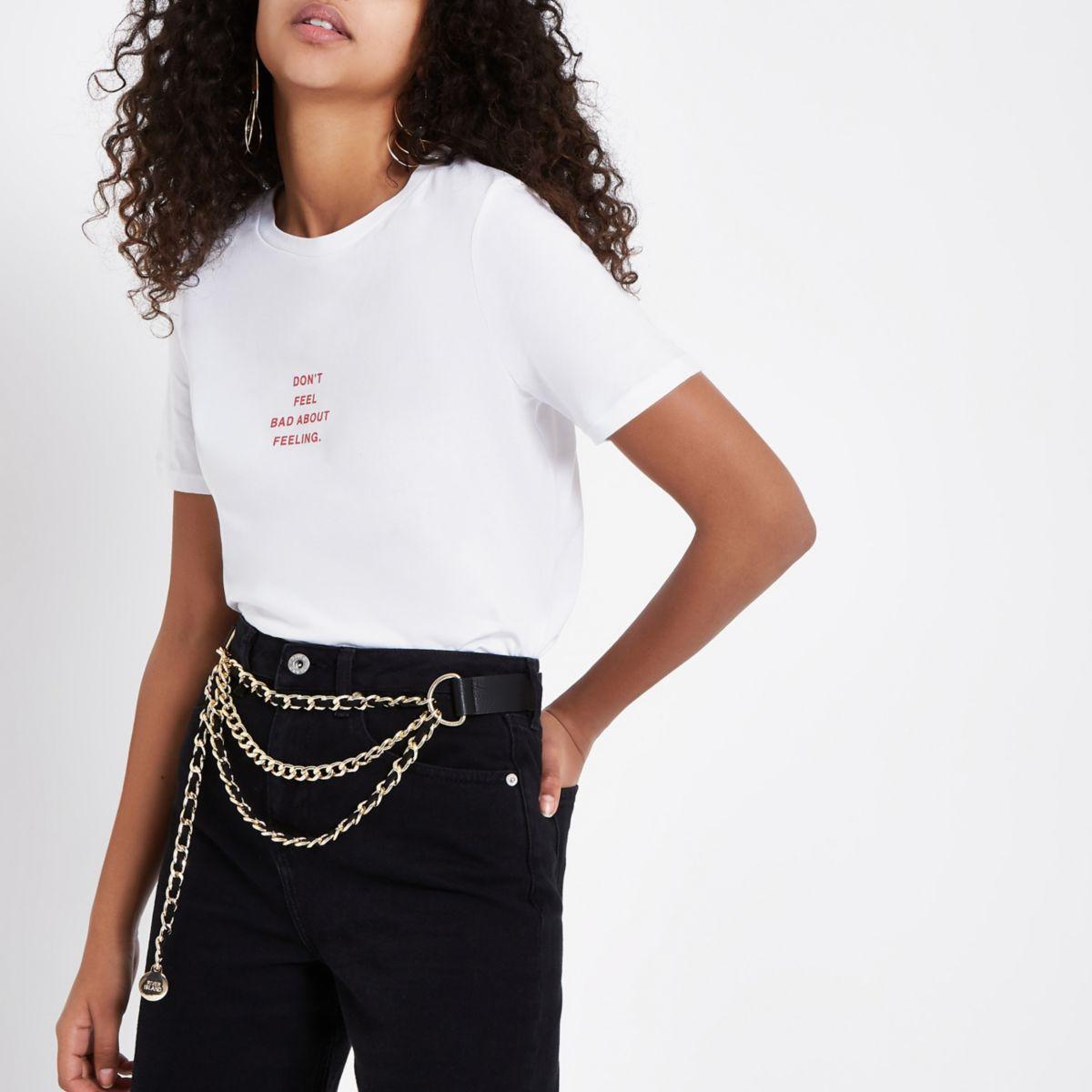White 'Feeling' print T-shirt
