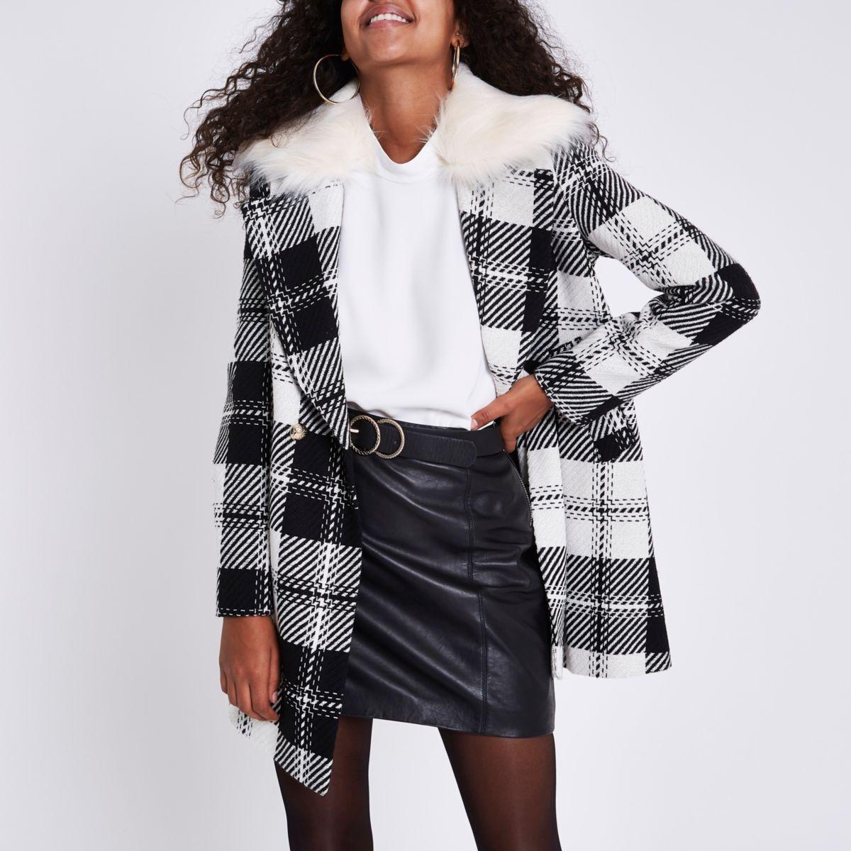 Black check faux fur collar swing coat