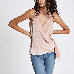 Pink velvet knot side cami top