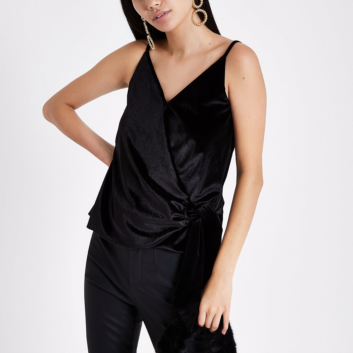 Black velvet knot side cami top