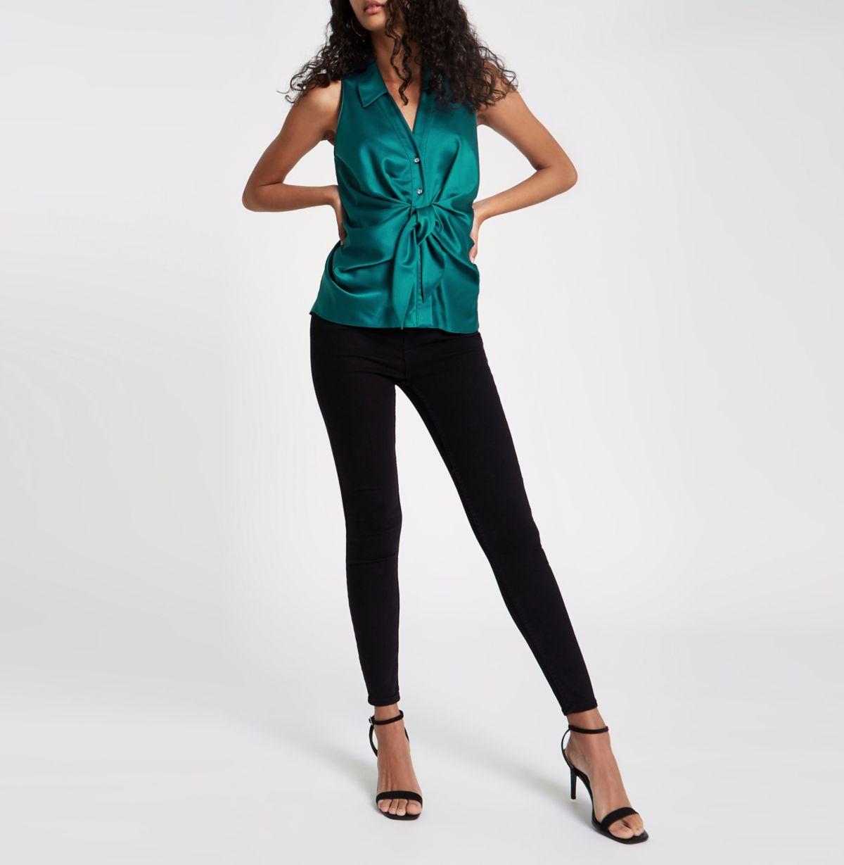 Green twist front sleeveless shirt