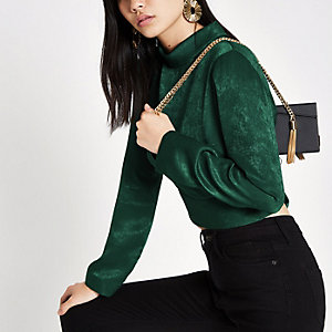 Green high neck crop top