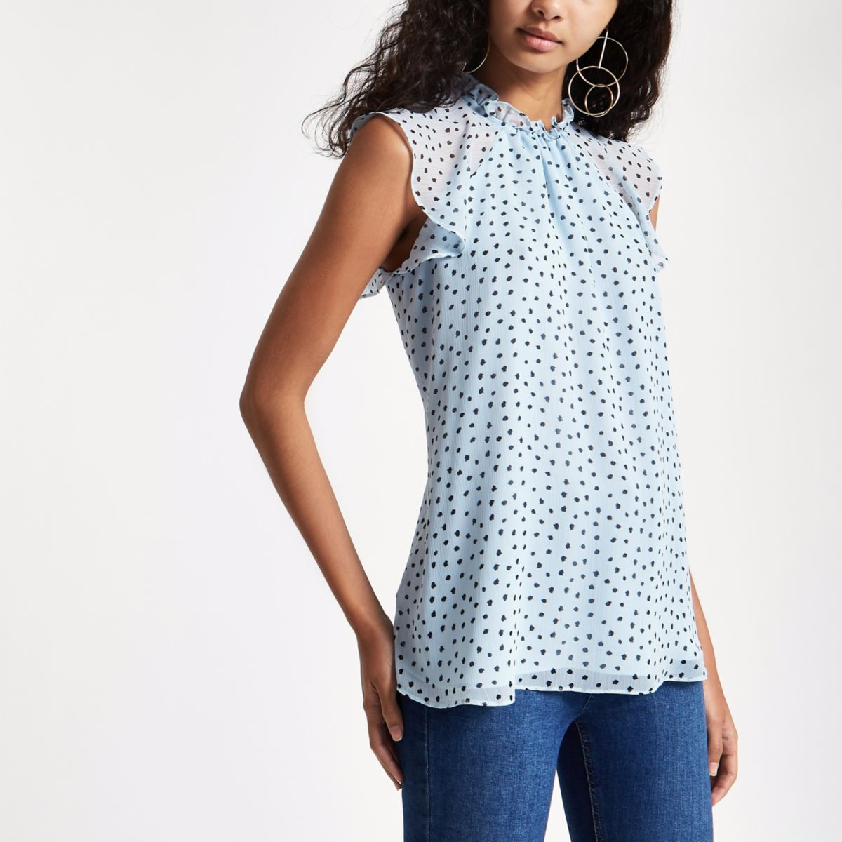 Blue spot print frill sleeve top